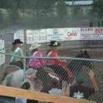 These ladies herded the cattle and horses off the rodeo field.